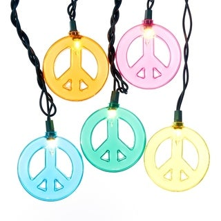 Kurt Adler 10-light Multicolored Peace Sign Light Set