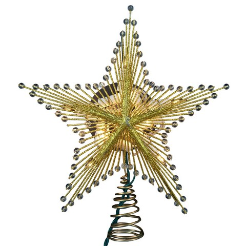 Kurt Adler 10-light 9-inch Gold Glitter Wire Star Treetop