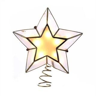 Kurt Adler 10-light 5-point Ivory and Gold Capiz Star Treetop