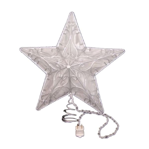 Kurt Adler 10-light Snowfall 5-point Silver Wire Star Treetop