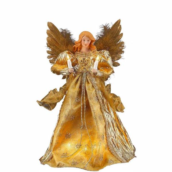 Shop Kurt Adler 10 Light 14 Inch Gold Angel Treetop Free