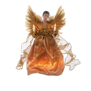 Kurt Adler 13-inch UL 10-light Gold African American Angel Treetop