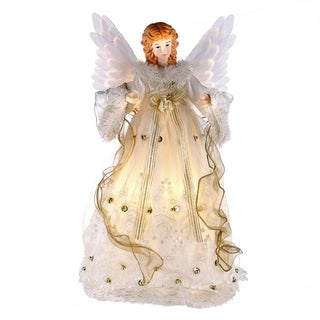Kurt Adler 14-inch Ivory and Gold Fiber Optic Animated Angel Treetop