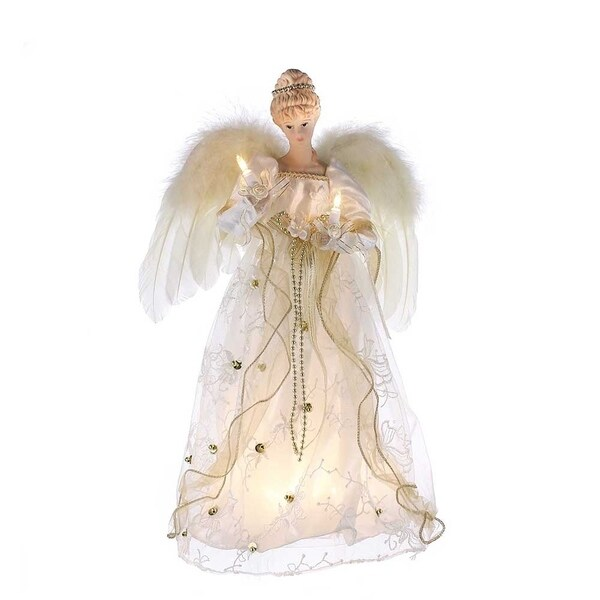 Kurt Adler UL 10-Light Angel Treetop Figurine 10-Inch Ivory and Gold