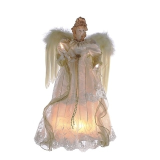 Kurt Adler 16.5-inch 10-light Ivory and Gold Angel Treetop