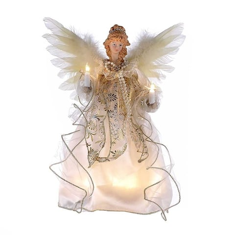 Kurt Adler 12-Inch 10-Light Ivory and Gold Angel Treetop