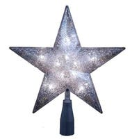 Kurt Adler UL 10-light 5-point Silver Glitter Star Treetop