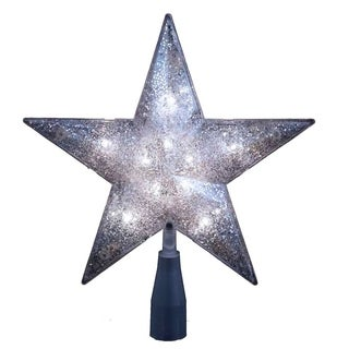 Kurt Adler UL 10-light 5-point Silver Glitter Star Treetop