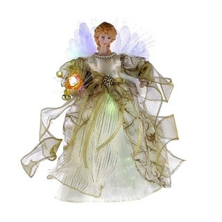 Kurt Adler 12-inch CUL Ivory/Gold Fiber Optic LED Angel Treetop