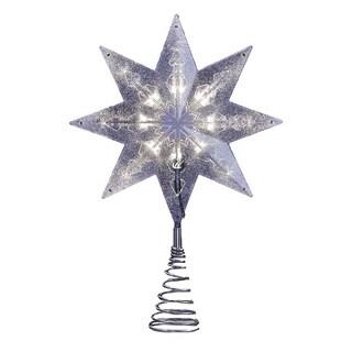 Kurt Adler UL 8-light 11.5-inch LED 8-point Silver Star Treetop