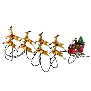Kurt Adler UL 10-light Santa Sleigh and Eight Reindeer Light Set