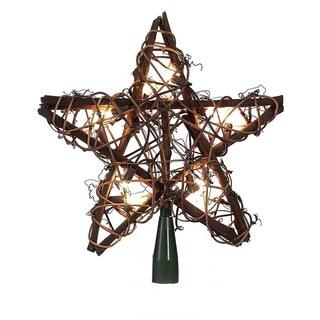 Kurt Adler 10-light Rattan Natural Star Treetop