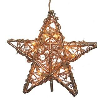 Kurt Adler 10-light Rattan Gold Star Treetop