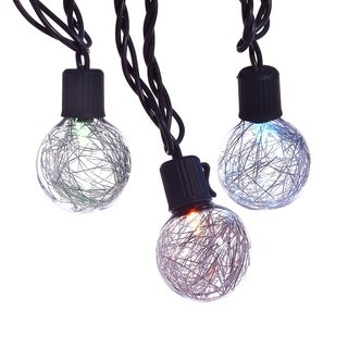 Kurt Adler UL 10-light G40 Silver Tinsel Balls LED Light Set