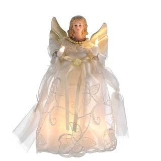 Kurt Adler 10-inch UL 10-light Gold/Ivory Angel Treetop