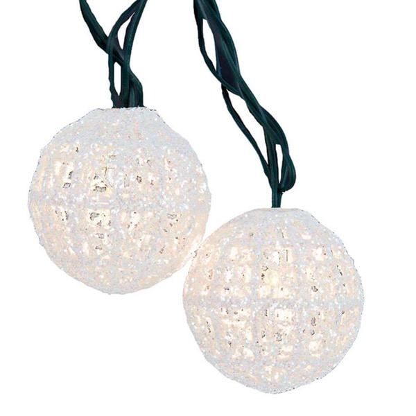set of 10 miniature sparkly white ball party christmas lights green wire