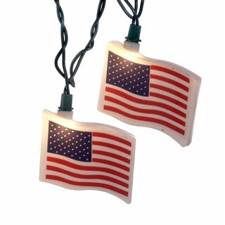 Kurt Adler UL 10-light USA Flag Light Set