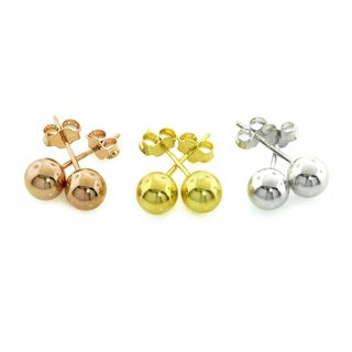 Eternally Haute Sterling Silver 6mm Ball Studs in 3 Colors