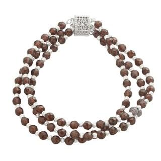 Sterling Silver 3-row Garnet/ Brilliance Bead 7.5-inch Bracelet