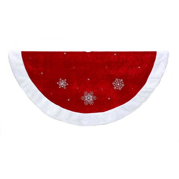 Kurt Adler 48-inch Red Snowflakes with White Border Treeskirt