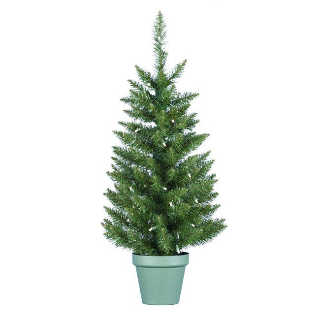 Kurt S. Adler 36-inch Pre-lit Potted Pine Tree (Green Dec...