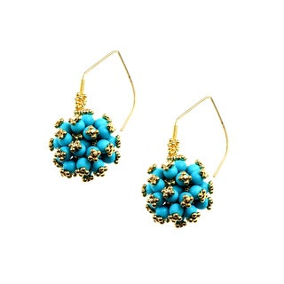 Michael Valitutti Sterling Silver Vermeil and Turquoise Earrings