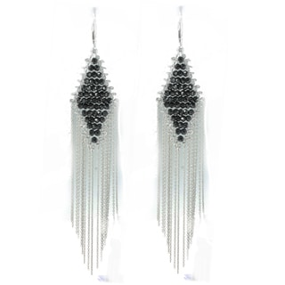 Michael Valitutti Sterling Silver Black Spinel Diamond Shape Fringe Earrings