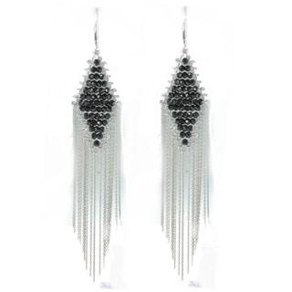 Michael Valitutti Sterling Silver Black Spinel Diamond Shape Fringe Earrings