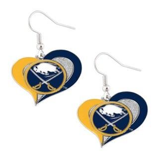 Buffalo Sabres Logo Swirl Heart Earring Charm Gift Set