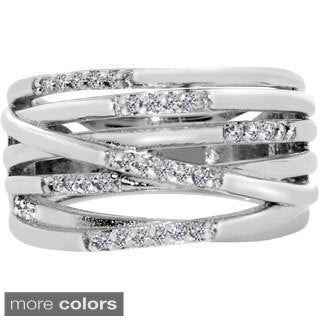 Gioelli Sterling Silver 1/6ct TDW Diamond Multi-layer Ring (H-I, I2-I3)