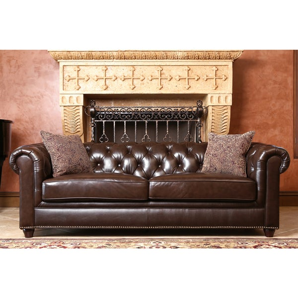 Incroyable Abbyson Carmela Dark Brown Top Grain Leather Chesterfield Sofa