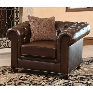 ABBYSON LIVING Carmela Dark Brown Top Grain Leather Chesterfield Armchair