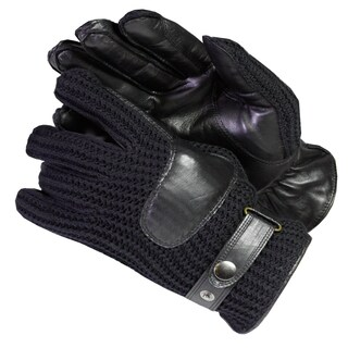 Isotoner Men's Knit and Leather Cold-weather Gloves with Thinsulate Lining