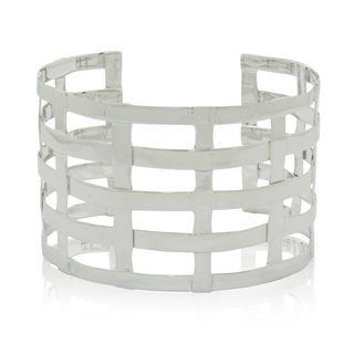 Gioelli Sterling Silver High Polished Lined Cuff Bangle Bracelet