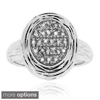 Gioelli Sterling Silver Oval 1/10ct TDW Diamond Ring