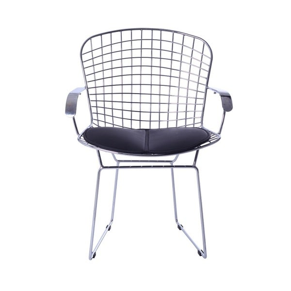 Wire Arm Leatherette Chair