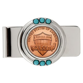 American Coin Treasures Lincoln Union Shield PennyTurquoise Money Clip