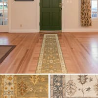 Hand-Tufted Asnee Bordered Wool Rug - 2'3 x 10'