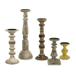 Kanan Distressed Wooden Candleholders (Set of 5)