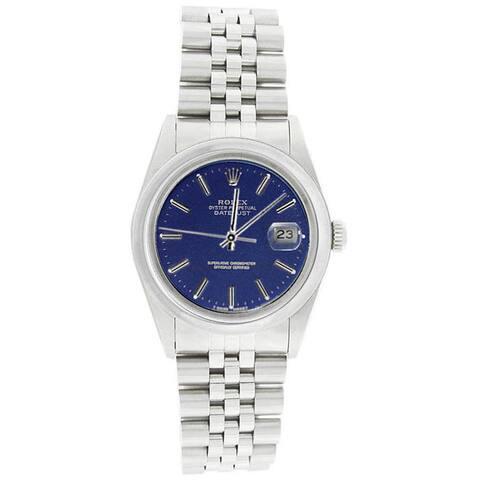 Pre-Owned Rolex Men's 16200 Datejust Stainless Steel Jubilee Bracelet Blue Stick Watch