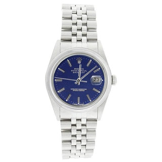 Pre-Owned Rolex Men's 16200 Datejust Stainless Steel Jubilee Bracelet Blue Stick Watch