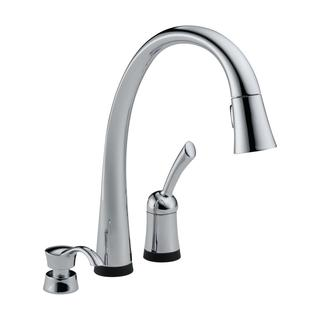 Delta Pilar Chrome Single Handle Pull-down Kitchen Faucet with Touch2O(R) Technology and Soap Dispenser
