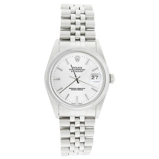 Pre-Owned Rolex Men's 16200 Datejust Stainless Steel Jubilee Bracelet White Stick Watch
