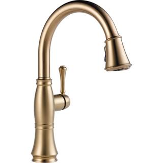 Delta Cassidy Single Handle Pull Down Kitchen Faucet 9197 CZ DST Champagne  Bronze