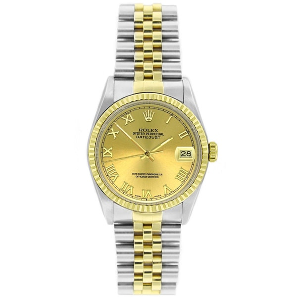 Pre-Owned Rolex Men's Datejust 16233 Two-tone Champagne Roman Watch