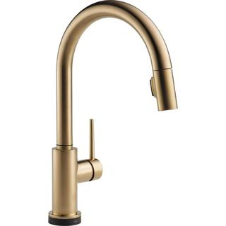 Delta Trinsic Single Handle Pull-Down Kitchen Faucet with Touch2O Technology 9159T-CZ-DST Champagne