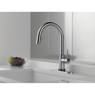 Delta Trinsic Single Handle Pull-Down Kitchen Faucet 9159T-AR-DST Arctic Stainless|https://ak1.ostkcdn.com/images/products/9540233/P16719046.jpg?impolicy=medium