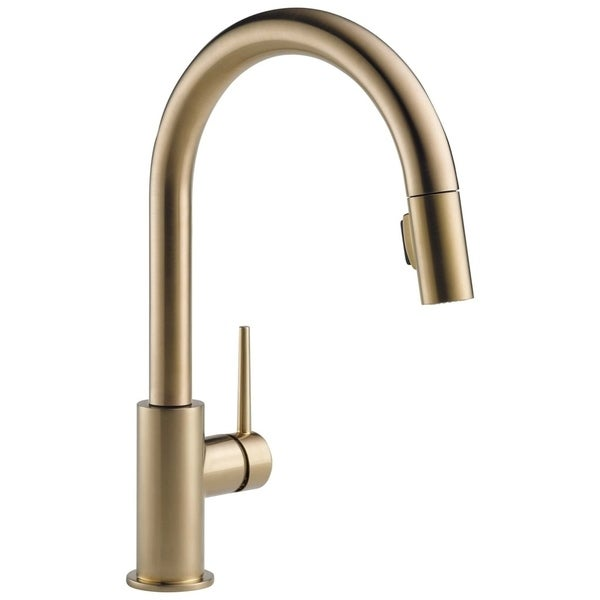 Bon Delta Trinsic Single Handle Pull Down Kitchen Faucet 9159 CZ DST Champagne  Bronze