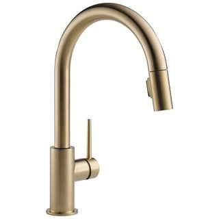 delta trinsic single handle pulldown kitchen faucet 9159czdst champagne bronze