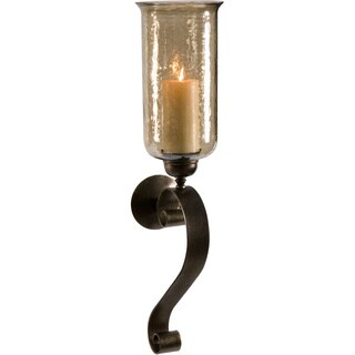 Medium Scroll Base Wall Sconce Candle with Brown Luster Glass